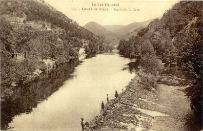 ancienne carte postale - Les bords de la Cère